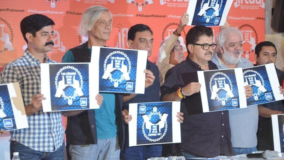 (L to R) Actor Sushant Singh, filmmaker Sudhir Mishra, Producer B. P. Singh and filmmaker Ashoke Pandit  among others at a press conference organised by Indian Film and Television Directors' Association (IFTDA) in support of filmmaker Sanjay Leela Bhansali's upcoming film 'Padmavati' in Mumbai.The association wrote to Union Home Minister Rajnath Singh seeking a smooth release for the film. (IANS)