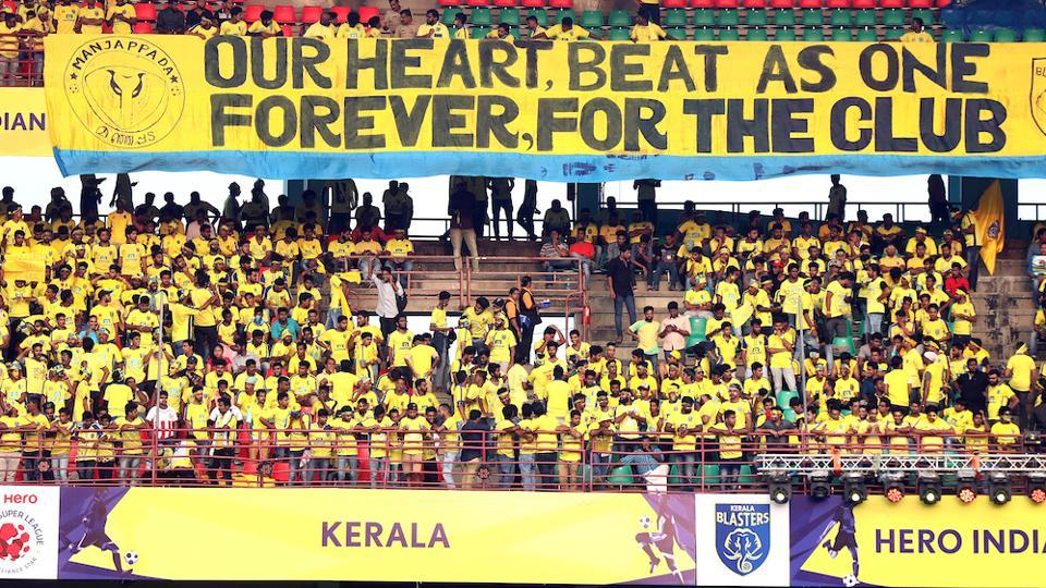 Fan's before the start of the opening ceremony of the Indian Super League held at the Jawaharlal Nehru Stadium in Kochi.  (ISL / SPORTZPICS)
