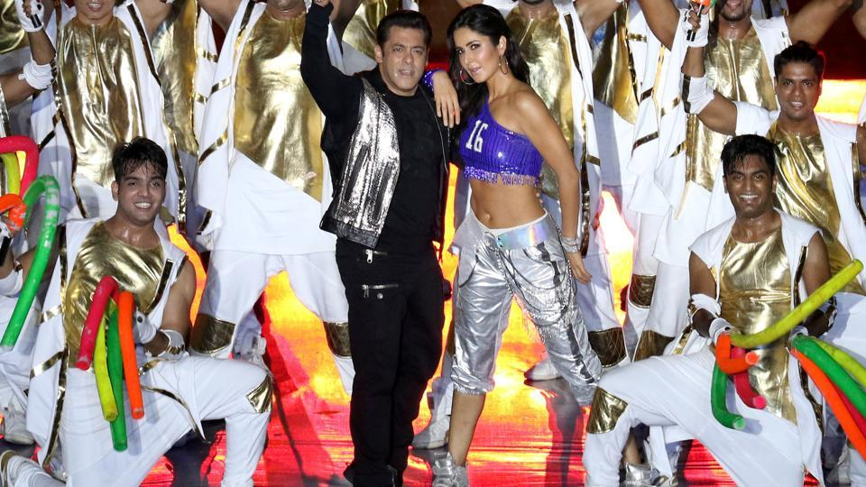 Salman Khan and Katrina Kaif perform during the opening ceremony of the Indian Super League in Kochi on Friday. (ISL / SPORTZPICS)