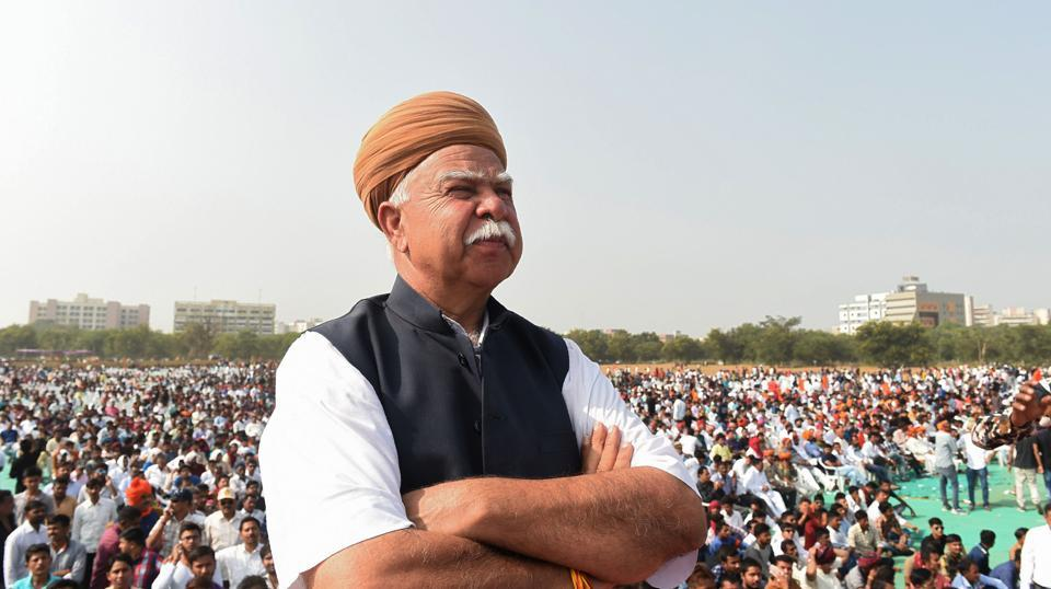 "Founder of Rajput Karni organisation Sena Lokendra Singh Kalvi looks on during a protest rally in Gandhinagar. The Karni Sena leader has threatened  actress Deepika Padukone with physical harm over her ""provocative statements."" (Sam Panthaky / AFP)"