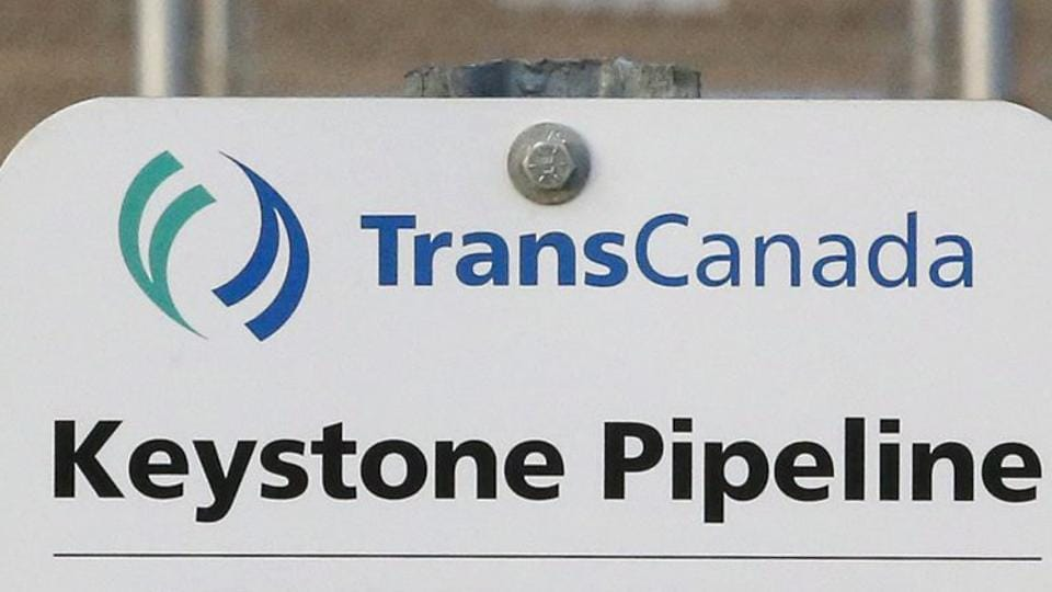 A sign for TransCanada's Keystone pipeline facilities in Hardisty, Alberta, Canada. TransCanada Corp.'s Keystone pipeline leaked oil onto agricultural land in northeastern South Dakota, the company and state regulators said Thursday but state officials don't believe the leak polluted any surface water bodies or drinking water systems.