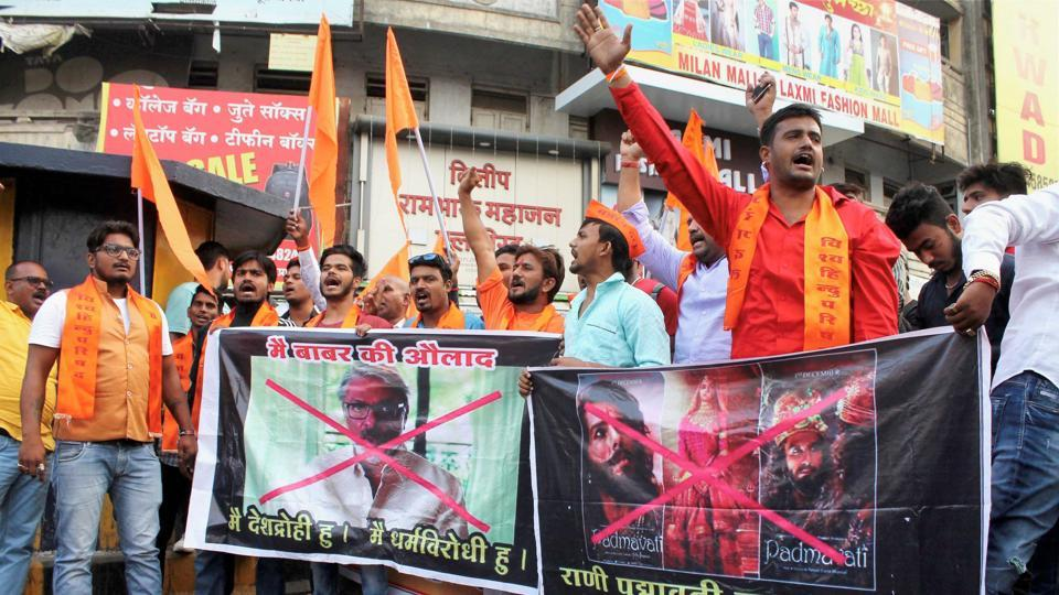 Bajrang Dal activists protest against filmmaker Sanjay Leela Bhansali in Nagpur, Maharashtra. Demonstrations have been reported in several parts of the country, including Uttar Pradesh and Bihar, against the movie, which is slated to be released on December 1. (PTI)