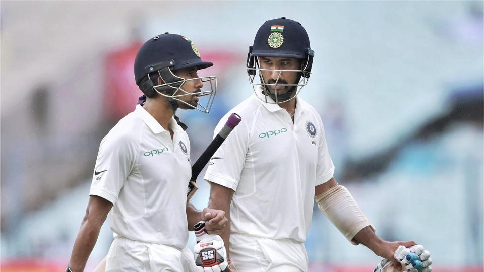 Pujara, batting on 47, and wicketkeeper-batsman Wriddhiman Saha, on six, were at the crease when rain halted play before lunch. (PTI)