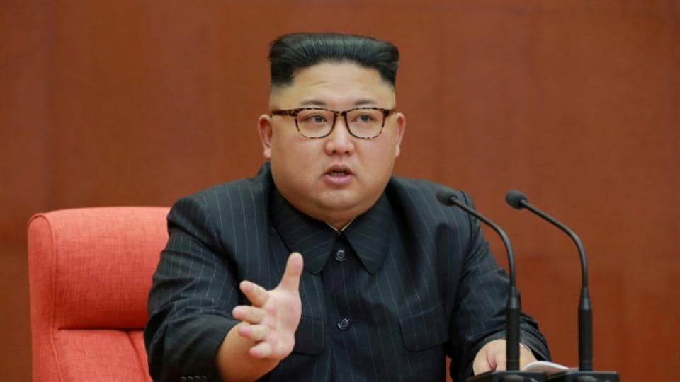 North Korean leader Kim Jong Un speaks during the Second Plenum of the 7th Central Committee of the Workers' Party of Korea (WPK) at the Kumsusan Palace of the Sun.