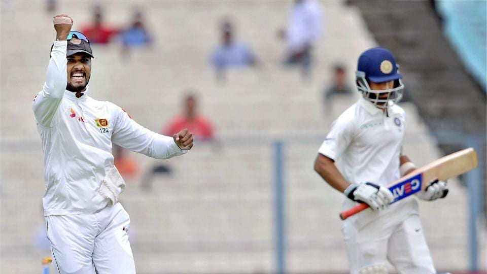 Cheteshwar Pujara's overnight partner Ajinkya Rahane (in pic) fell to Dasun Shanaka, caught behind for four after a tentative 21-ball stay at the crease. (PTI)
