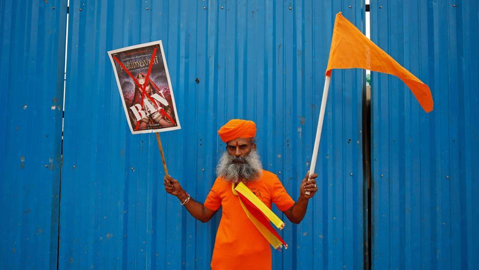 A demonstrator poses during a protest against the release of the upcoming Bollywood movie 'Padmavati' in Bengaluru. (Abhishek N. Chinnappa  / REUTERS)