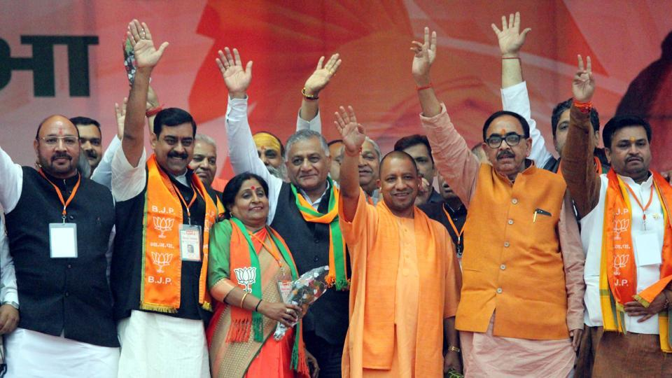 UP chief minister Yogi Adityanath and other BJPleaders at an election rally in Ghaziabad on Saturday ahead of the local body polls to be held on November 26