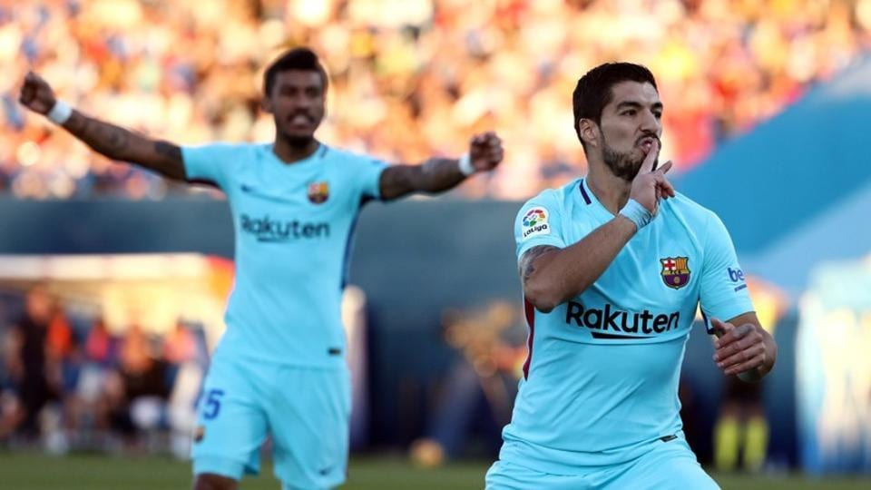 Barcelona's Luis Suarez celebrates after scoring against Leganes in their La Liga match at Butarque Municipal Stadium on Saturday.