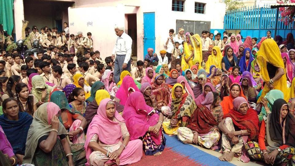 A mother-teacher meeting at a government school in Bhilwara on Saturday .