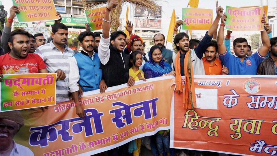 Activists of Rashtriya Rajput Karni Sena (Jharkhand wing) hold placards demanding the ban on screening of upcoming Bollywood movie 'Padmavati', in Ranchi on Saturday.
