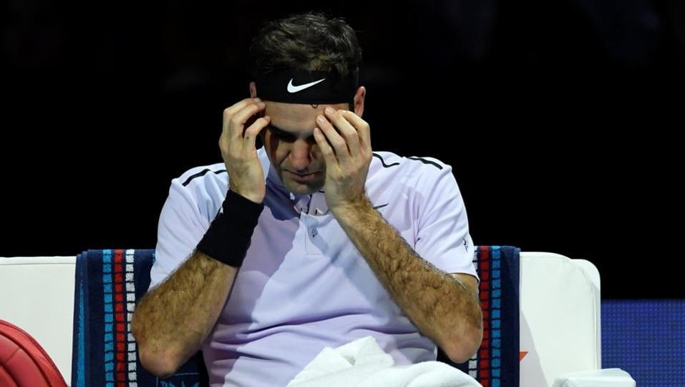 Roger Federer during a break in his semi final match against David Goffin at ATP World Tour Finals.