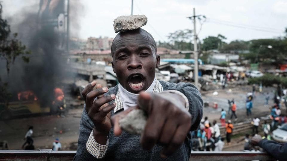 A supporter of Kenyan's opposition party  reacts during a demonstration in Nairobi. The political crisis has stirred fears for the stability of the east African nation, a regional hub for trade, diplomacy and security. (Yasuyoshi Chiba / AFP)