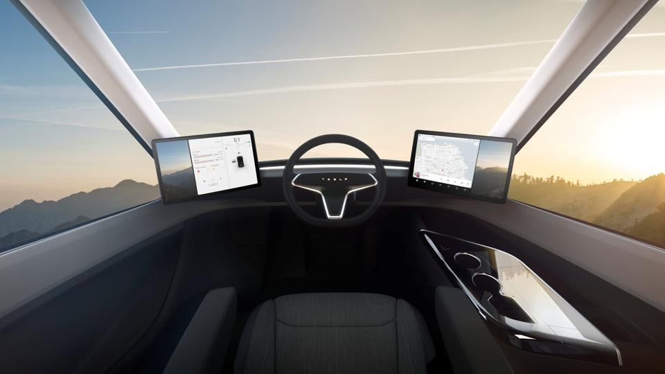 The truck has Tesla's latest semi-autonomous driving system, designed to keep a vehicle in its lane without drifting, change lanes on command, and transition from one freeway to another with no human intervention. (REUTERS)