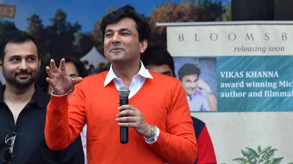 Celebrity chef Vikas Khanna along with Kumar Chiplunkar at the cover launch of his book Poetry in New Delhi on Saturday.