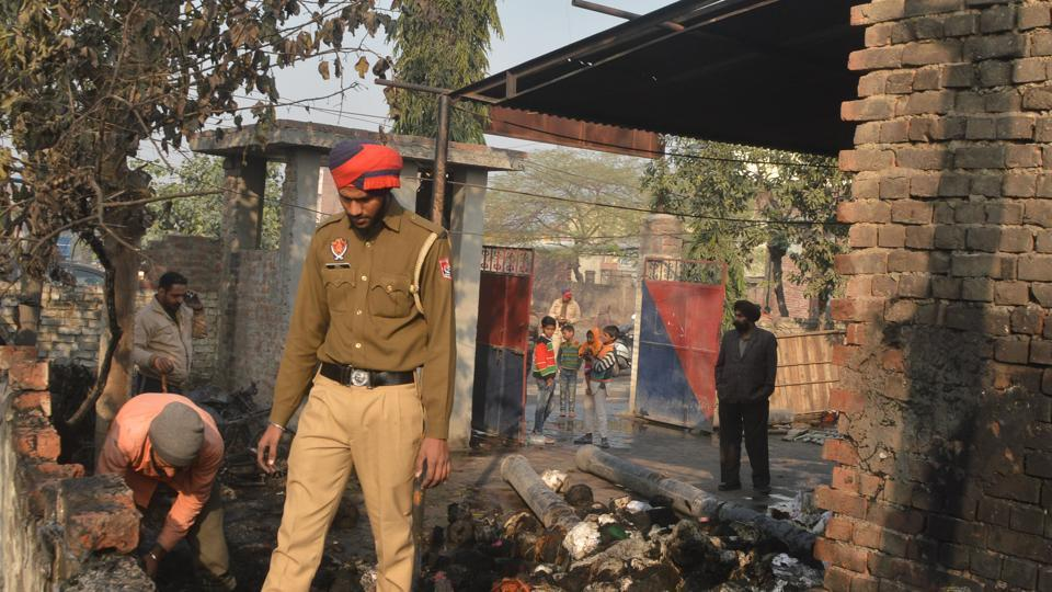 Ludhiana police post,fire in ludhiana