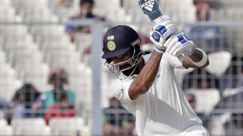 KL Rahul in action during the fourth day of the first Test match between India and Sri Lanka in Kolkata.