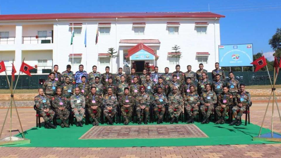 Officers of the Indian and Myanmarese armies during the start of the joint military exercise in Meghalaya on Monday.