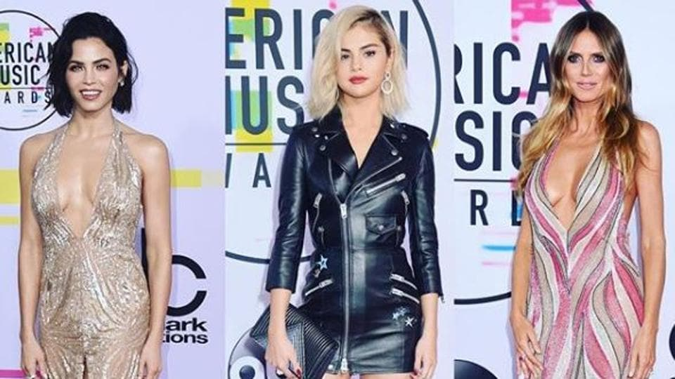 From left: Jenna Dewan Tatum stunned in a vintage-style golden metallic halterneck dress, Selena Gomez stole the show in a leather zippered mini and Heidi Klum kept things funky with a plunging, sequinned halterneck piece.