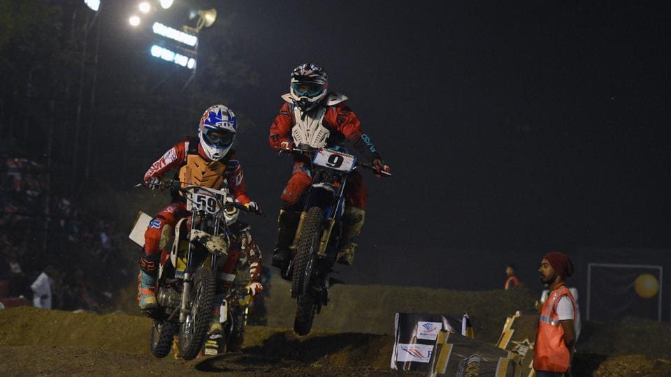 After three exciting editions of the Pune Invitational Supercross League, the fourth edition was bigger and better. All eyes were on defending champions Bhalla Royale and their riders. (Pratham Gokhale/HT Photo)