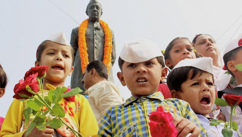 Children dress up as India's first prime minister Jawaharlal Nehru on his birth anniversary, which is celebrated as Children's Day, on November 14.