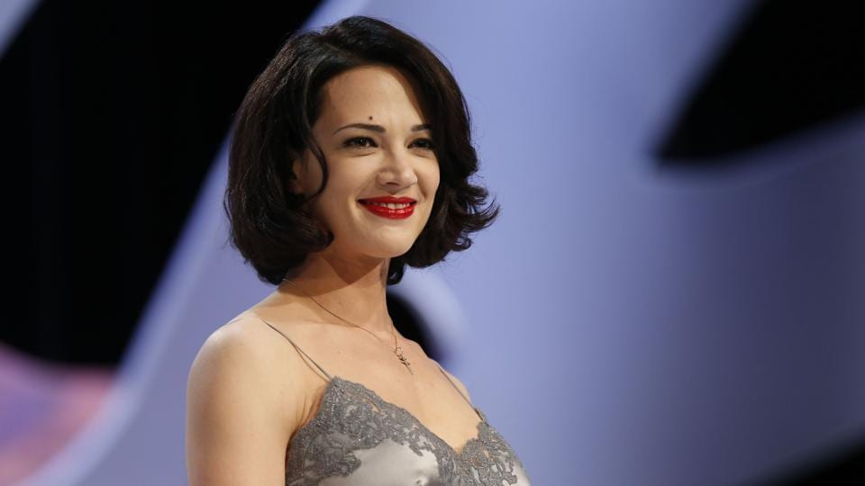 Italian actress Asia Argento on stage prior to handing the Best Screenplay award during the closing ceremony of the 66th Cannes film festival in Cannes.