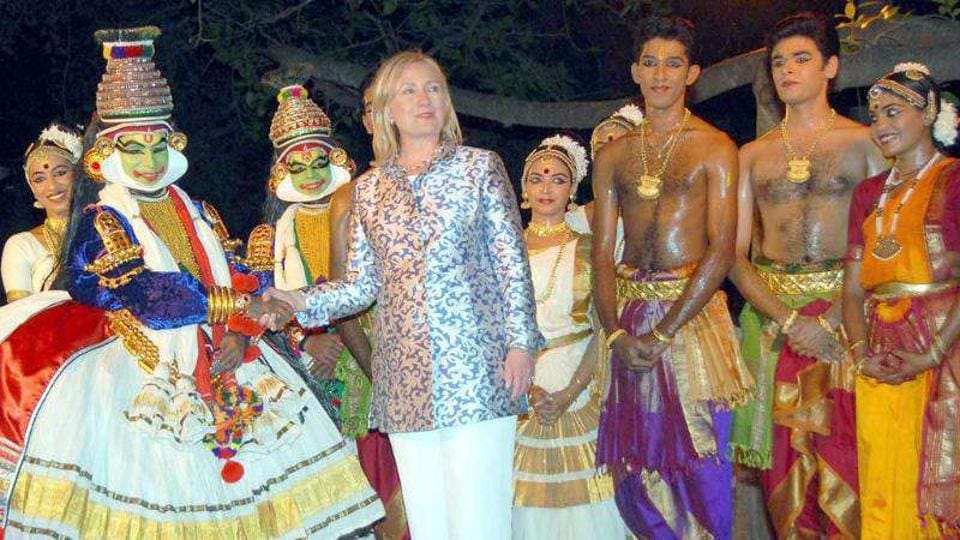 US Secretary of State Hillary Clinton after a dance programme at Kalakshetra, Chennai.  The city can boast more than 350 cultural institutions, 25 large institutional performance spaces and several neighbourhood, grassroots venues