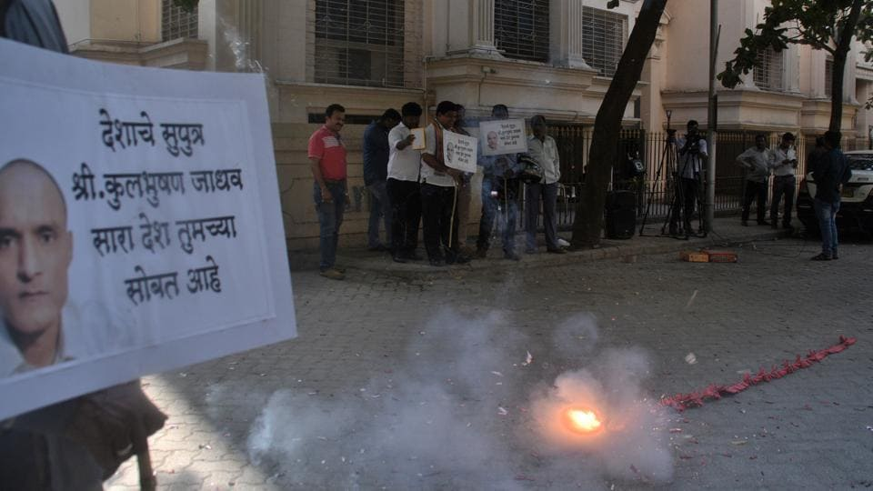 Residents of Powai celebrates the International Court of Justice staying the death sentence against Kulbhushan Jadhav, in Mumbai, on May 18, 2017.