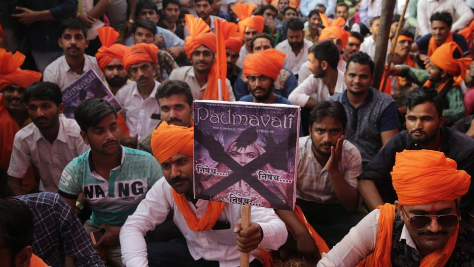 Members of Rajput groups hold placards as they protest against the release of Bollywood film Padmavati in Mumbai, India.