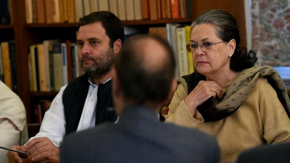Congress president Sonia Gandhi and vice president Rahul Gandhi at the Congress Working Committee (CWC) meeting at the party headquarters in New Delhi.