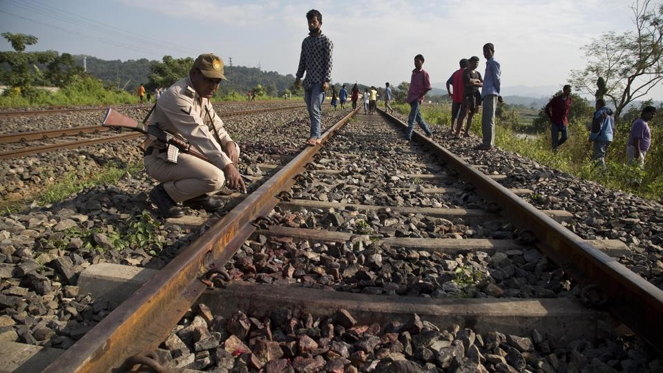 A forest official points to the spot where the train hit rammed into the Asian elephants. The train was reportedly exceeding speed limit norms near elephant habitat  and corridors.  (Anupam Nath / AP)