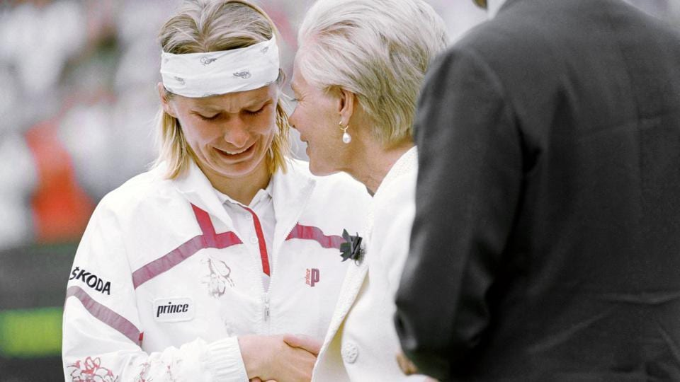 Jana Novotna breaks down and weeps as she accepts the loser's plate from the Duchess of Kent after losing the 1993 Wimbledon singles final.