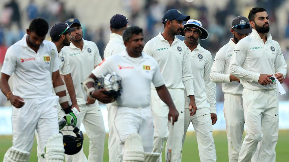 The opening Test between India and Sri Lanka in Kolkata ended in a draw on Monday after bad light ended play on Day 5 with Sri Lanka on 75/7 in their chase of 231. (BCCI)