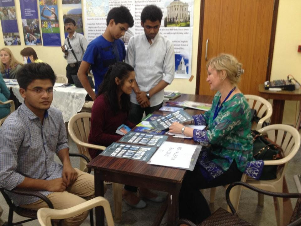 At the Russian Education Fair last year, students had questions answered by delegates from 11 universities across that country.