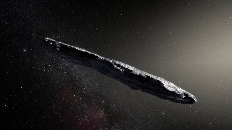 This artist's impression shows the first interstellar object, named Oumuamua.