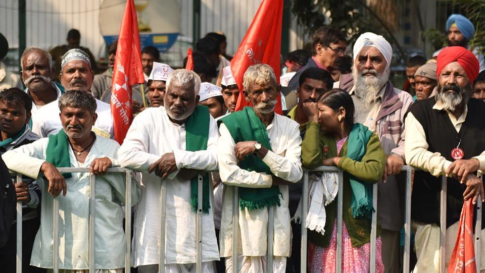 "A two-day 'Kisan Mukti Sansad' or a mock Parliament session also began where two ""Bills"" were tabled, on crop loan waivers and remunerative prices for farm produce, to highlight government apathy towards the farming community. The Bills will be sent to the PM once ""passed"" following a debate between farmers, activists and political leaders.  (Sanchit Khanna / HT Photo)"