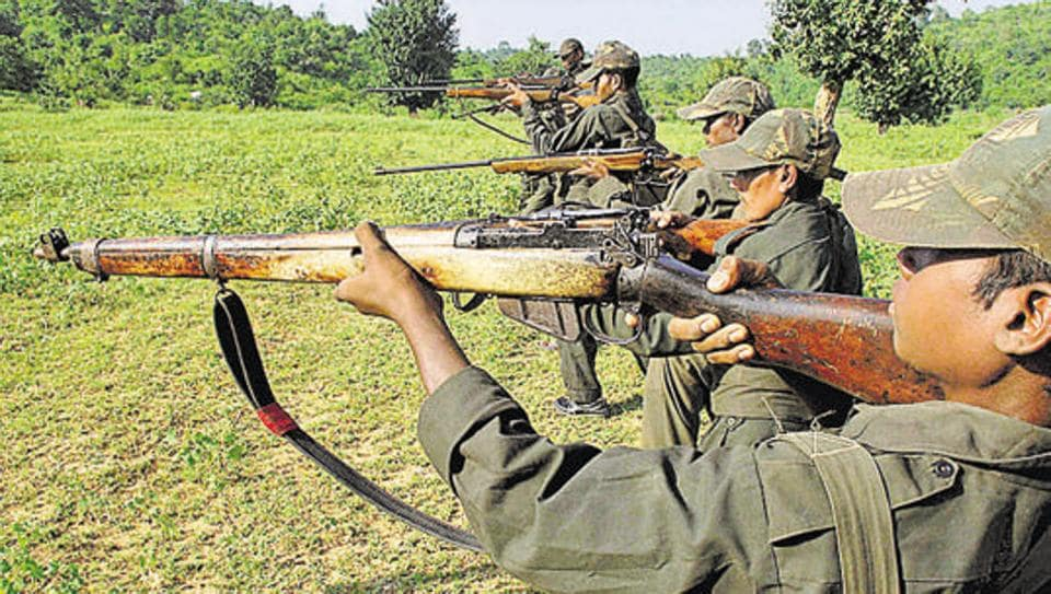 Maoist rebels train in a forest area in Bihar.