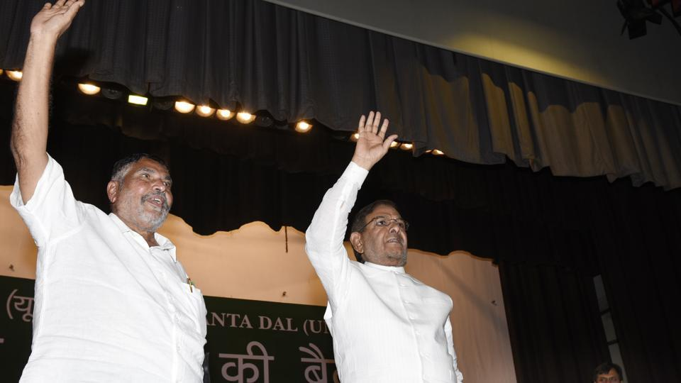 Sharad Yadav (right) with Chhotubhai Vasava during JD(U) National Council Meeting in New Delhi on October 8, 2017.