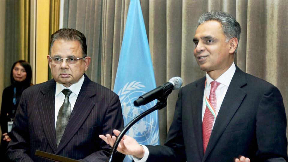India's Permanent Representative to the United Nations Syed Akbaruddin speaks during a reception in the honour of Justice Dalveer Bhandari (L) at the United Nations in New York on Monday.