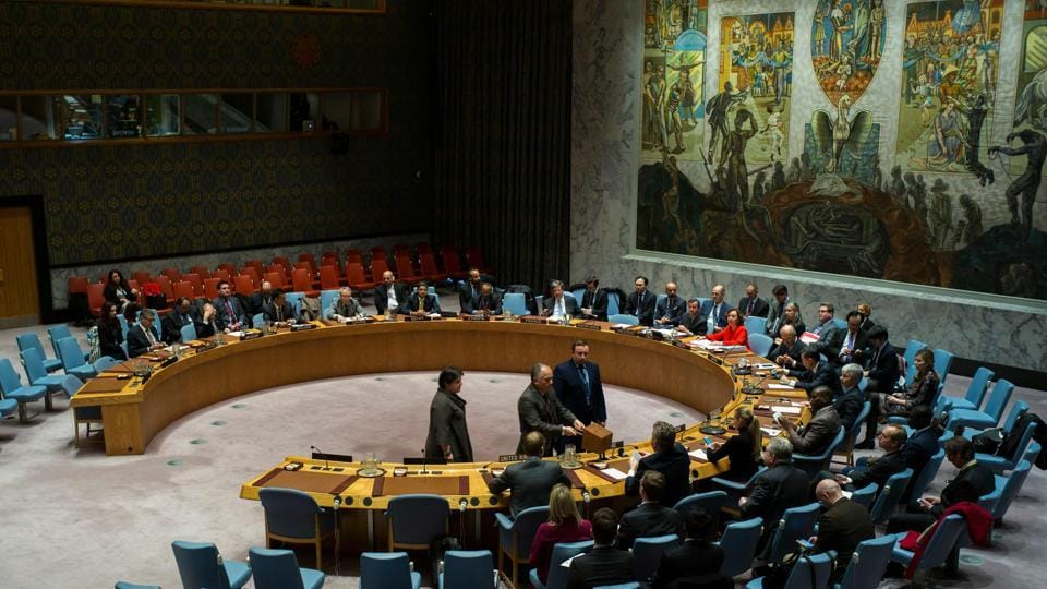 United Nations Security Council members cast their vote during a meeting on the election of five members of the International Court of Justice, at the UN headquarters in New York on November 13, 2017.
