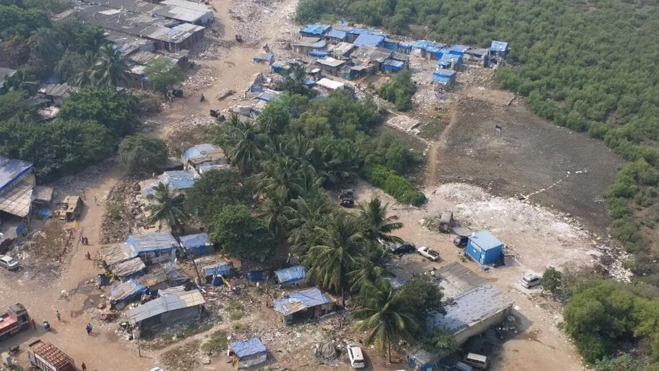 Shanties have come up within 50-metre of mangrove in Charkop.