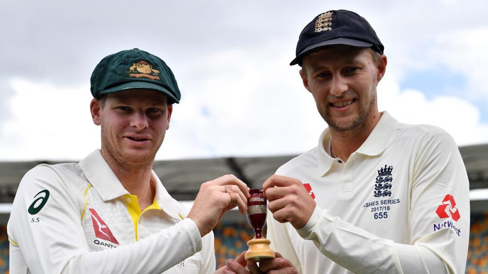 Australia skipper Steve Smith (L) and England captain Joe Root hold a replica Ashes Urn in Brisbane on Wednesday. (AFP)
