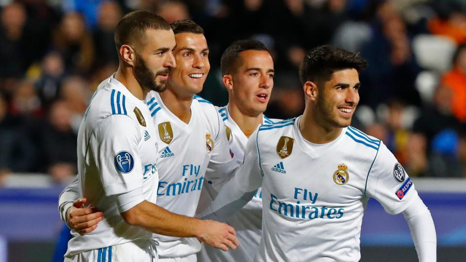 Real Madrid thrashed APOEL 6-0 in the Champions League on Tuesday, but will finish behind Tottenham Hotspur in Group H after the latter defeated Borussia Dortmund 2-1. (AFP)