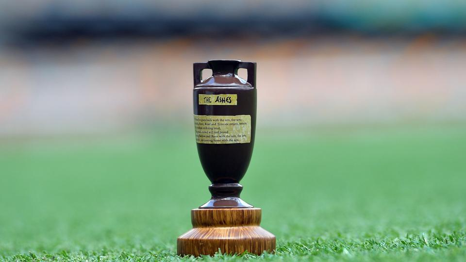 The Ashes Urn is displayed on the pitch at the Gabba in Brisbane. New-look Australia will bank on their pace attack terrifying England once again when two unfamiliar line-ups open hostilities for the Ashes, the oldest prize in Test cricket. (AFP)