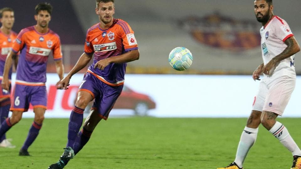 FC Pune City reduced the gap to 2-3 in added time, but by then it was too late as Delhi pocketed three points from the away tie. (ISL / SPORTZPICS)