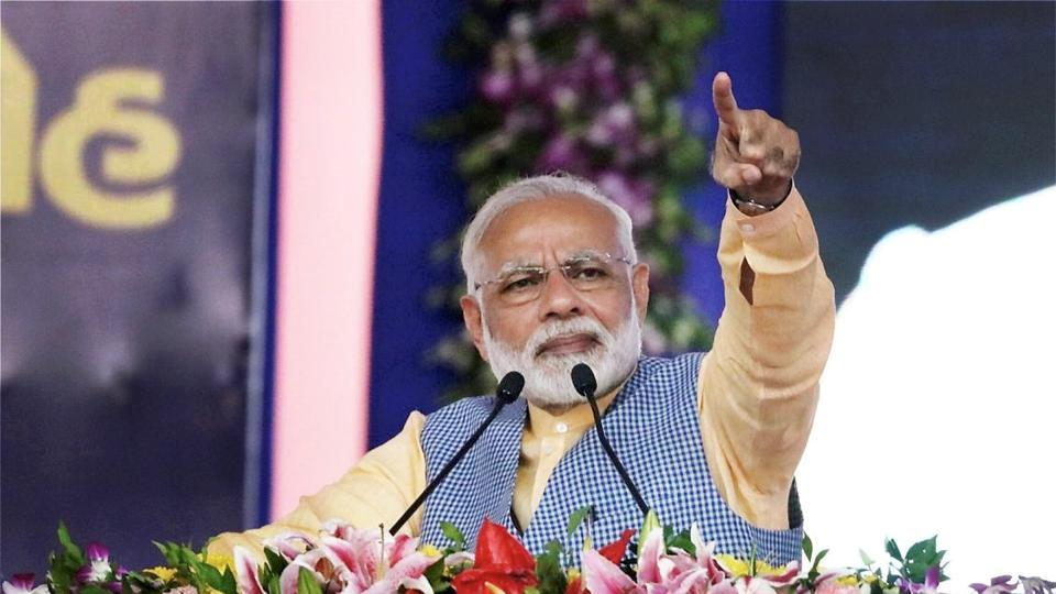 Prime Minister Narendra Modi addressing a public meeting in  Bhavnagar, Gujarat. Modi's  unmatched status as the star campaigner for  the BJP means that almost every election has become a  mini-referendum on the prime minister's appeal