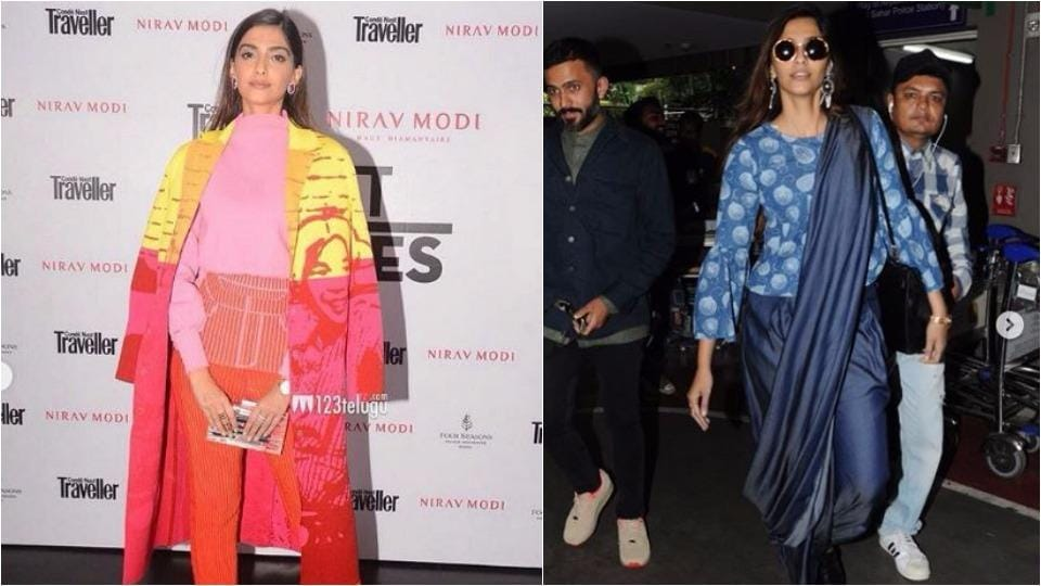 Actor Sonam Kapoor in a bright knit top with skinny knit trousers by Aussie designer Zoe Champion, on left; Sonam mixing things up with her 'denim palazzo sari', on right.