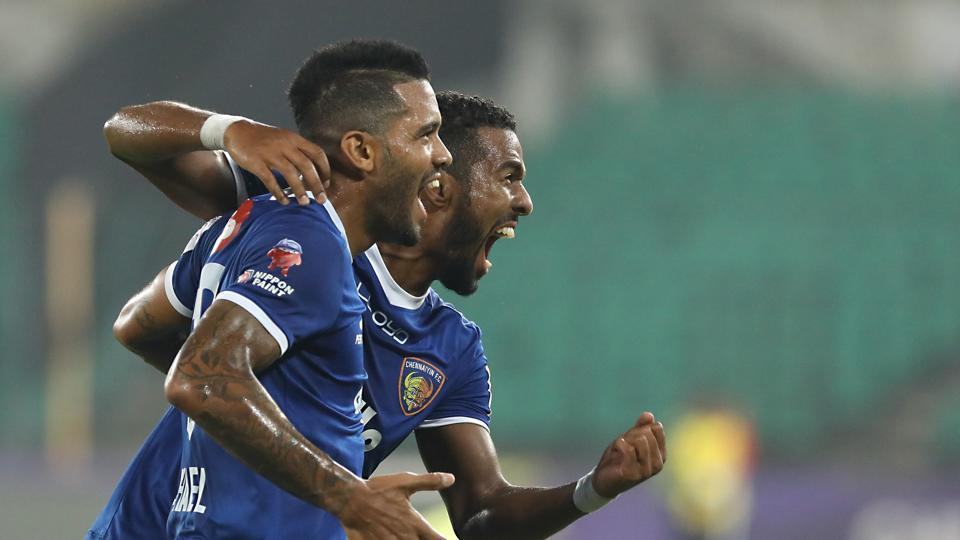 Raphael Augusto (L) celebrates his goal vs NorthEast United FC in their Indian Super League encounter. Chennaiyin FC won 3-0.