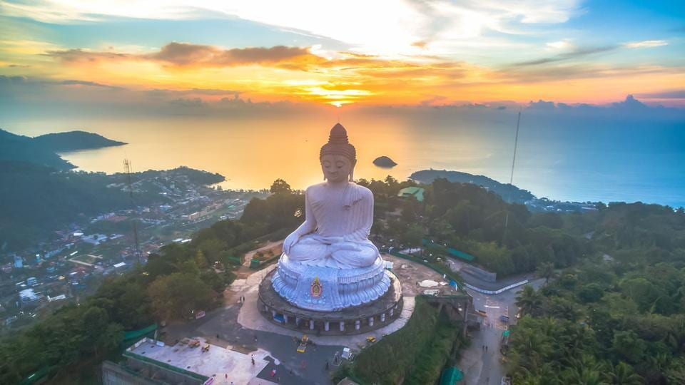 Phuket Big Buddha is a 45-metre tall white marble statue visible from anywhere in the southern part of Phuket.