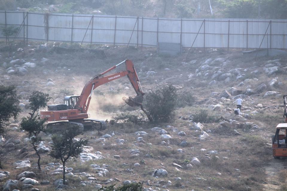 Aravallis,tree felling,Bharti Land Ltd