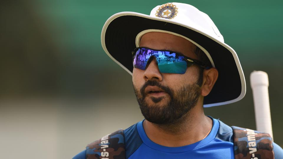 Rohit Sharma attends the training session. He will hope to get a look-in for the game.  (AFP)